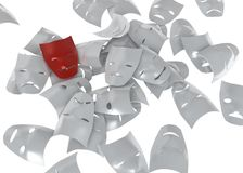 Mood. A red 3d mask on a pile of white ones Stock Photos