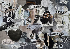 Mood board ,collage atmosphere sheet  with elegance elements with white, black and gray, and blue with heart , butterflies, ballet Stock Image