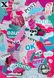 Mood board made of magazines in pink and blue green for female Stock Photos