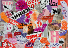 Mood board of pieces magazines for girls. Mood board of pieces magazines in red pink, purple orange, white and black for background royalty free stock photos