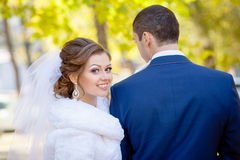 Mood of bride and groom wedding Stock Images