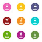 Mood icons set, flat style. Mood icons set. Flat set of 9 mood vector icons for web isolated on white background Royalty Free Stock Images