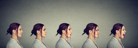Mood swing. Young woman expressing different emotions and feelings. Mood swing. Side profile of a woman expressing different emotions and feelings royalty free stock photos