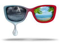 Mood Swings. And chemical imbalance as a psychological disorder as eye glasses with dark storm weather and another side a bright tropical beach scene with 3D Royalty Free Stock Images