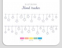 Mood tracker with hanging stars for 31 days of a month. Bullet journal page template without numbers royalty free illustration