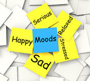 Moods Post-It Note Shows State Of Mind. Moods Post-It Note Showing State Of Mind Royalty Free Stock Photo