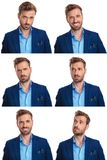 6 moods of a young man. On white background stock image