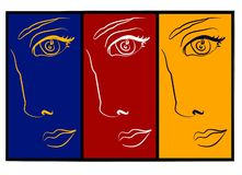 Moodswings - collage de 3 visages Photographie stock libre de droits