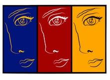 Moodswings - collage de 3 visages illustration stock