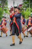 Moodus CT Fife and Drum Corps - Fife Player. Essex, USA - May 14, 2011:  Volunteer marcher-musicians keep the spirit of New England Patriots alive in a weekend Stock Photo