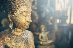 Moody ambience Buddha statue close-up. Buddha statues in Doi Suthep temple complex Stock Photography