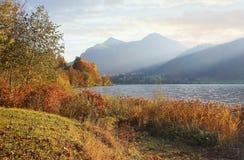 Moody autumn landscape schliersee, bavaria Stock Photo