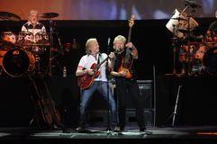 The Moody Blues 8-8-2009. Hammond, Indiana/USA - August 8, 2009 - The Moody Blues Justin Hayward, John Lodge and Graeme Edge performing at the Horseshoe Casino Royalty Free Stock Images