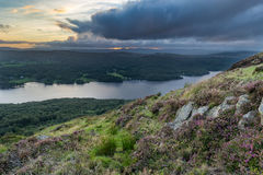 Moody Clouds Over Lake Windermere, UK. Moody dramatic sunset clouds over Lake Windermere in the English Lake District taken from Gummer's How Royalty Free Stock Photos