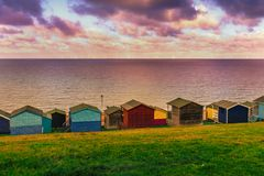 Free Moody Cloudy Weather Creating Patches Of Sunlight Between The Clouds On The Sea In Tankerton, Whitstable In Kent. Royalty Free Stock Photography - 135802377