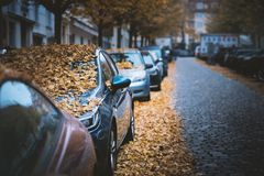 Moody day in the city. Orange, yellow leaves on the cars during a autumn period. Prague city in a Europe. Fall background with veh stock photography