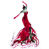 Moody Flamenco Dancer 01. A hand painted watercolor of a female flamenco dancer in reds and sepia colours, by Emma Plunkett royalty free illustration