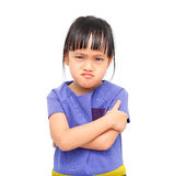 Moody girl. Angry asian little girl on white background Stock Photography