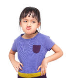 Moody girl. Moody asian little girl on white background Royalty Free Stock Photos