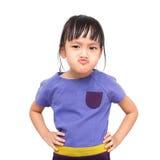 Moody girl. Moody asian little girl on white background Stock Image