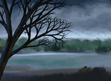 Moody Gray Sky - Digital Painting. Digital painting of a dead tree and lake under a moody gray sky Royalty Free Stock Photos