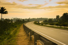 Moody Highway Scene. A bend on the NH47 captured on a cloudy, moody evening Stock Image