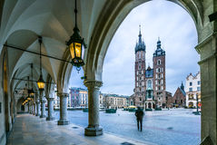 Moody Krakow market square, Poland, Europe Stock Photography