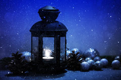 Moody lantern with tea light Royalty Free Stock Photo