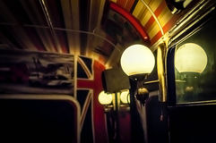Moody lights. Pub made inside a London Bus Stock Photo