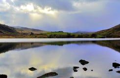 Moody Llyn Mymbyr Snowdonia Stock Image