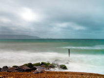 Moody Milford. A storm over milford on sea Royalty Free Stock Photos