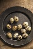 Moody natural lighting vintage retro style image of quaills eggs Royalty Free Stock Photo