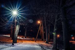 Moody Photo of the Park at Night in the Winter royalty free stock photography