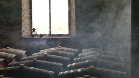 Moody Scene of Wine Cellar stock video footage