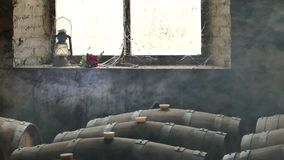 Moody Scene of Wine Cellar stock footage