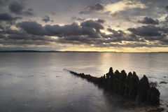 Moody sea landscape looking across Solent to Isle of Wight in En Royalty Free Stock Images