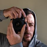Moody shooter in color stock photo