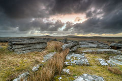 Moody Skies over Bodmin Moor. A dramatic stormy sky over Bodmin Moor in Cornwall, looking out toward the hills of Roughtor and Brown Willy Royalty Free Stock Image