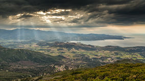 Moody sky over gulf of St Florent in Corsica Royalty Free Stock Photos