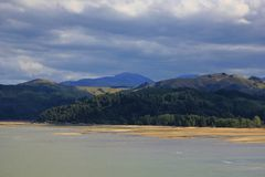 Moody sky over hills near Nelson Royalty Free Stock Images