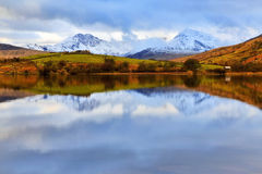 Moody Snowdonia reflected in Peaceful Llyn Mymbyr Snowdonia. Moody Snowdonia reflected in Peaceful Llyn Mymbyr Capel Curig Snowdon Wales Royalty Free Stock Image