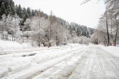 Moody street in winter stock image