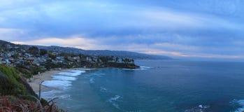 Moody sunrise over Crescent Bay in Laguna Beach Royalty Free Stock Photo