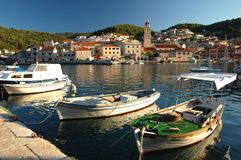 Moody Sunset In Pucisca On Brac Island, Croatia Royalty Free Stock Photos