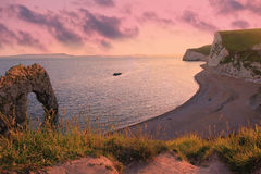 Moody sunset scenery, durdle door beach, dorset Stock Photography