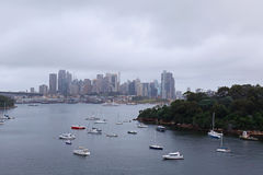 Moody Sydney Harbour cityscape Royalty Free Stock Photo