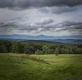 Moody View of the Catskill Mountains of New York. A stormy autumn view across a landscape to the Catskill Mountains royalty free stock photography