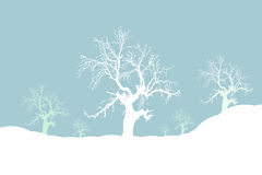 Moody winter. Snowy winter scene illustration Stock Photo