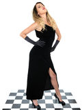 Moody Young Woman Wearing Black Dress Stock Photography