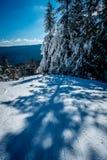 Mooi aard en landschap rond de toevlucht van de sneeuwschoenski in cass stock afbeelding